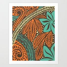 Blue orange retro colored Polynesian Hawaiian floral tattoo design Art Print