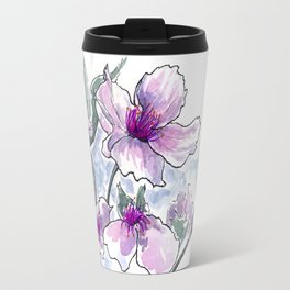 Cherry Blossom Ink and Watercolor Travel Mug