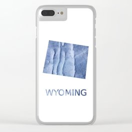 Wyoming map outline Blue watercolor Clear iPhone Case