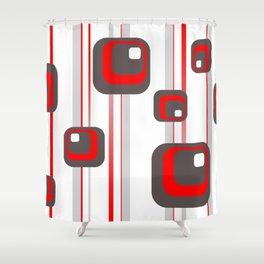 Vintage Retro Graphic white Shower Curtain