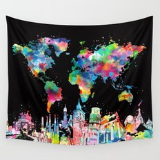 world map city skyline 3 Wall Tapestry