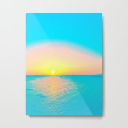 Romantic summer sunset in blue and a sailing boat in the sea Metal Print