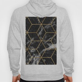 Golden deco black marble geo Hoody