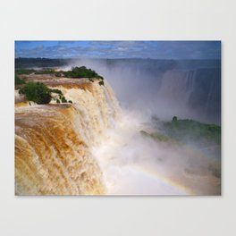 Aerial view of a majestic and powerful waterfall Canvas Print
