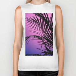 Palm leaves paradise with gradient Biker Tank