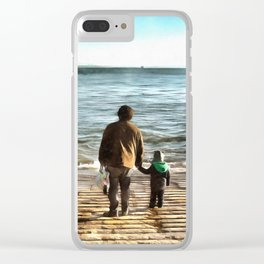 Father and sun looking into future Clear iPhone Case
