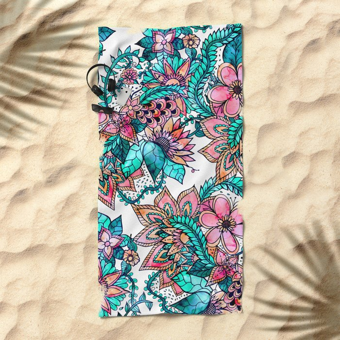 Boho turquoise pink floral watercolor illustration Beach Towel