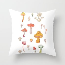 Mushroom Scientific Study Illustration Throw Pillow
