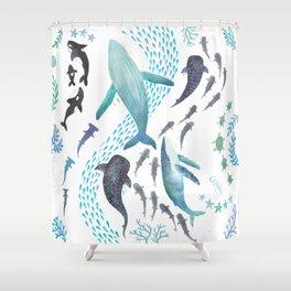 Sharks, Humpback Whales, Orcas & Turtles Ocean Play Print Shower Curtain