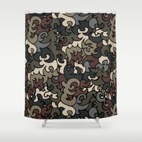 military Shower Curtains featuring Military pattern by Julia Badeeva