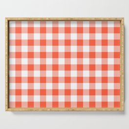 Jumbo Living Coral Color of the Year Orange and White Buffalo Check Plaid Serving Tray