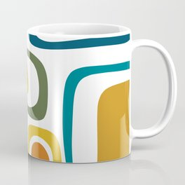 Palm Springs Midcentury Modern Abstract in Moroccan Teal, Orange, Mustard, Olive, and White Coffee Mug