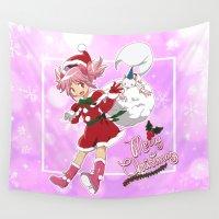 madoka magica Wall Tapestries featuring Merry Christmas Madoka Kaname by Neo Crystal Tokyo