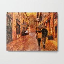 A Walk In The Rain by Liane Wright Metal Print
