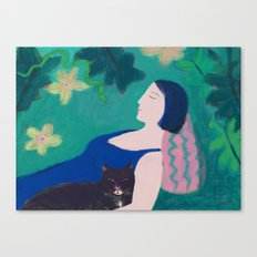 Sleeping Beauty with Cat Canvas Print