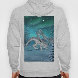 Awesome ice dragon in the winter landscape Hoody