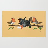 cock Area & Throw Rugs featuring Cock Robin (Colour) by rob art | illustration