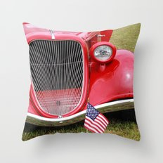 Red American Truck Throw Pillow