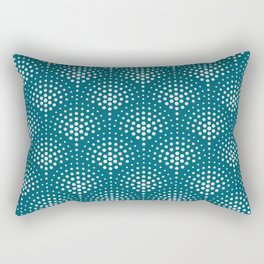 Off White Polka Dot Scallop Pattern on Tropical Dark Teal Inspired by Sherwin Williams 2020 Trending Color Oceanside SW6496 Rectangular Pillow