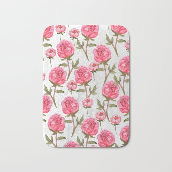 Pink Peonies On White Chalkboard Bath Mat