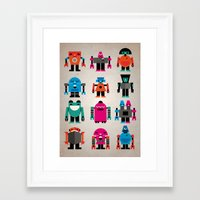 robots Framed Art Prints featuring Robots by Marco Recuero