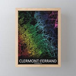 Clermont-Ferrand, France, City, Map, Rainbow, Map, Art, Print Framed Mini Art Print