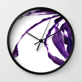 Purple tropical leaves. Wall Clock