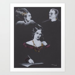 Charcoal Drawing with Colored Gold Leaf of Mary Shelley with Bride and Frankestein Art Print