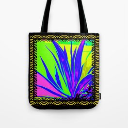 Colorful  Blue Tropical Foliage Black-Gold Color Abstract Tote Bag