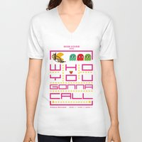 pacman V-neck T-shirts featuring pacman ghostbuster by danvinci