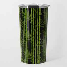 Green Bamboo Shoots and Leaves Pattern on Black Travel Mug