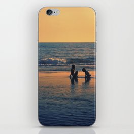 Kids playing by the sea iPhone Skin