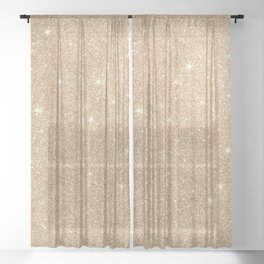 Gold Glitter Chic Glamorous Sparkles Sheer Curtain