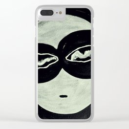 ONO FACE BLACK BACKGROUND Clear iPhone Case