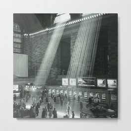 Grand Central Station, Rays of Sunlight spilling in terminal, New York City black and white photograph Metal Print