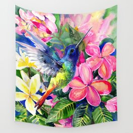 Hummingbird and Plumeria Florwers Tropical bright colored foliage floral Hawaiian Flowers Wall Tapestry