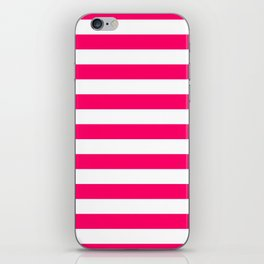 Bright Fluorescent Pink Neon and White Large Horizontal Cabana Tent Stripe iPhone Skin