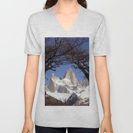 Fitz Roy Mountain Landscape (Patagonia, South America) Unisex V-Neck