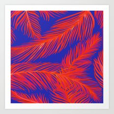 Tropical Palm Print - Red and Blue Art Print