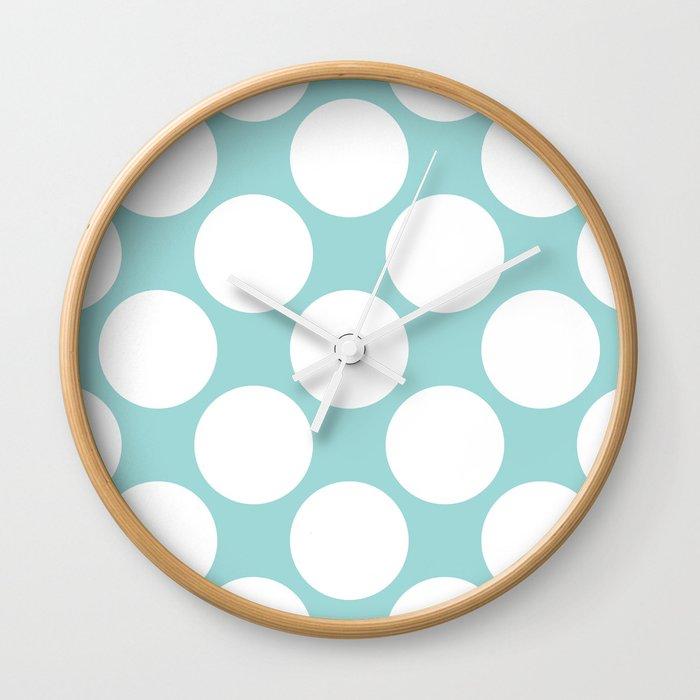 Polka Dots Blue Wall Clock