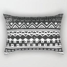 Aztec Inspired Pattern Black and White Rectangular Pillow