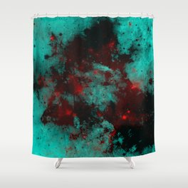Ruby Galaxy - Abstract cyan, red and black space themed painting Shower Curtain