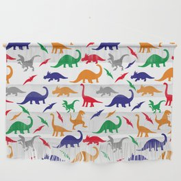 Colorful Dinos in Green, Grey, Red, Blue Yellow Wall Hanging