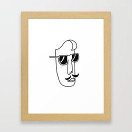 Sunglasses, Simple line, Man, Mustache Framed Art Print