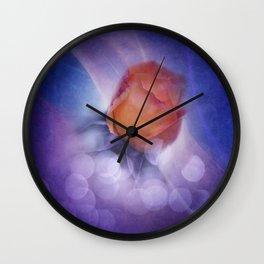 flowers on purple - orange rosebud Wall Clock