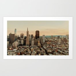 Vintage San Francisco Cityscape (Color) Art Print