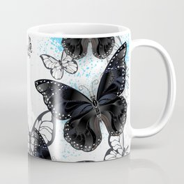 Background with Black Butterflies Coffee Mug