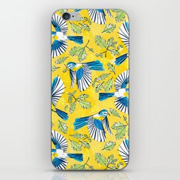 Flying Birds and Oak Leaves on Yellow iPhone Skin