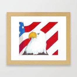 Eagle And Flag Framed Art Print