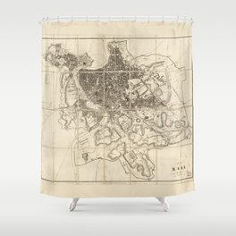 Plan of Rome Map (circa 1856) Shower Curtain